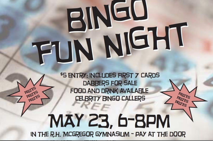 Bingo Night - Thursday May 23d 6-8pm in Gym