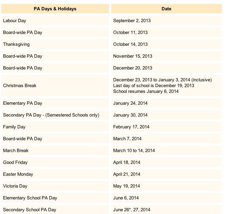 P.A. Days and Holidays 2013-2014