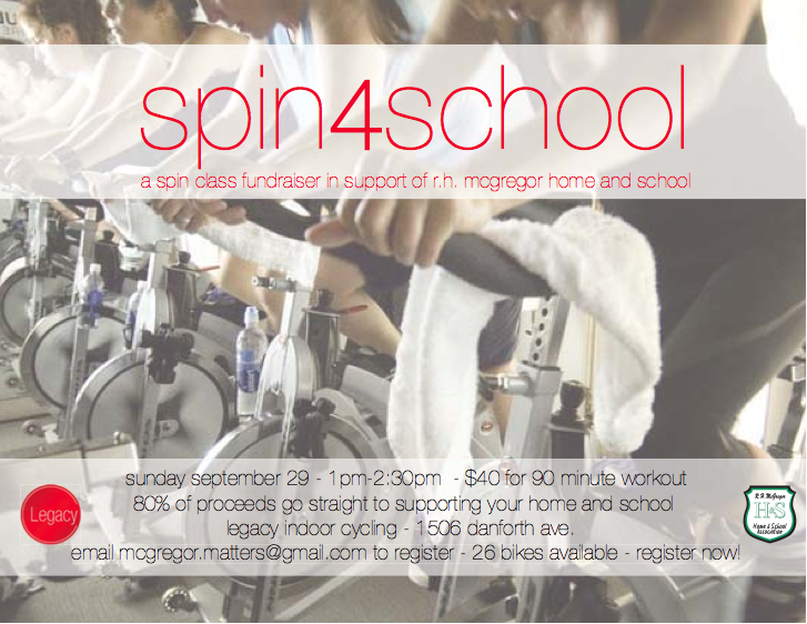 Spin4School! Spin class Fundraiser at Legacy Indoor Cycling on Sept. 29th