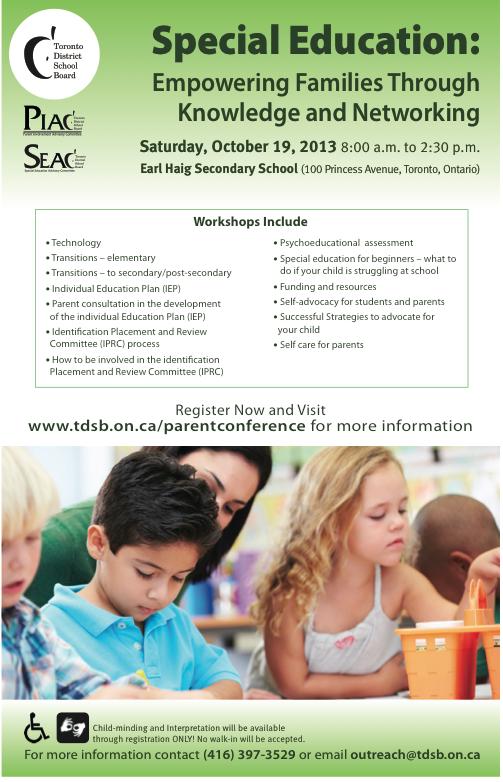 TDSB Parent Conference, Sat. Oct. 19