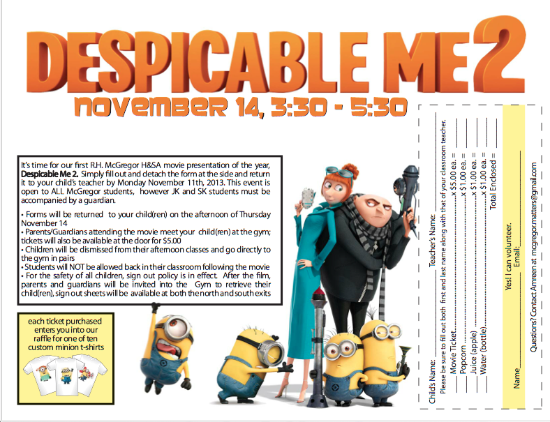 Movie Night November 14: Despicable Me 2 3:30-5:30pm