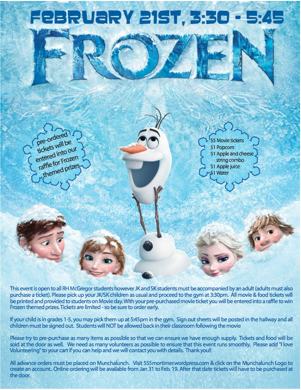 Tomorrow last day to Pre-Order Tickets and Snacks Online for FROZEN