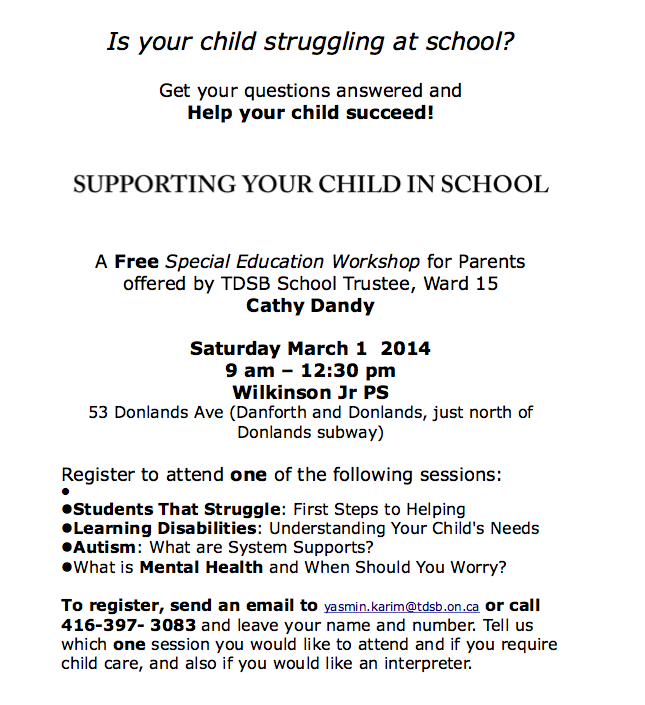 Message from Cathy Dandy: Special Education Workshop on March 1st