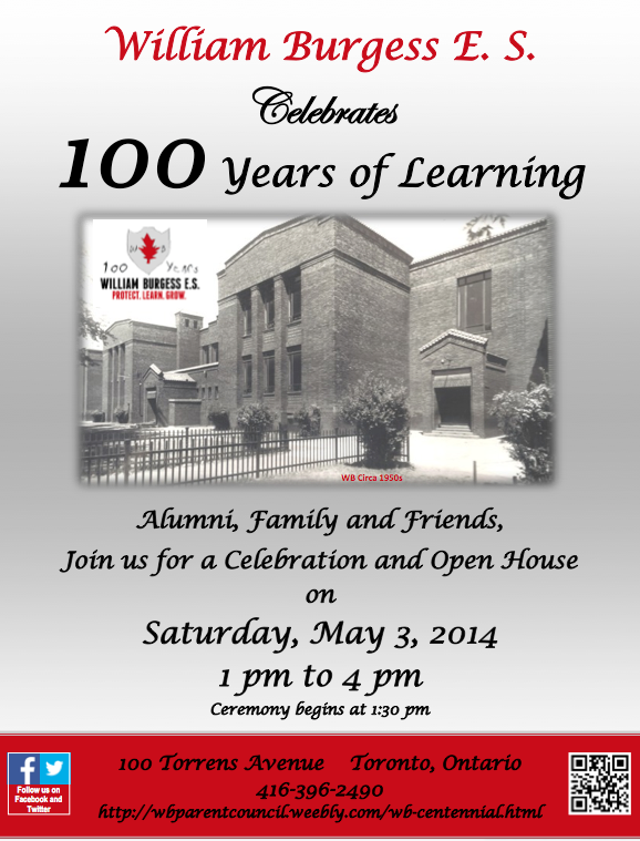 William Burgess School is celebrating their Centennial on May 3d!